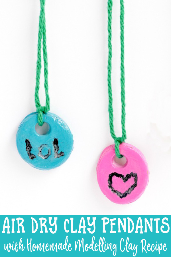 Air Dry Clay Pendants with homemade white clay recipe