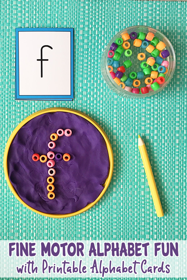 Fine motor alphabet fun with free printable alphabet cards