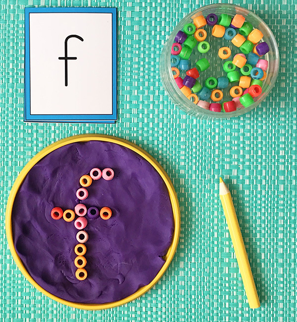 Fine motor alphabet game with free printable alphabet cards