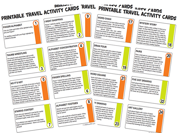 Printable Travel Activity Cards for School Age Kids. Includes 32 fabulous math games, word challenges, drawing prompts and partner games.