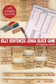 Silly Sentences Reading Game With Jenga Blocks