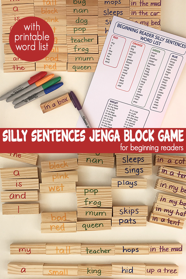 Silly sentences jenga block game for early readers