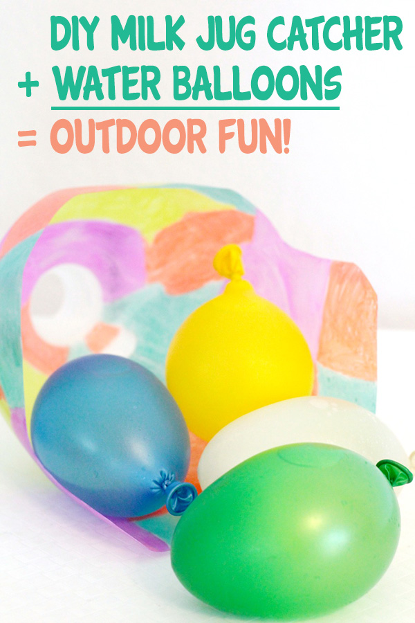Make a DIY Milk Jug Catcher for a fun and easy catching game. Includes a fun, outdoor game of catch with water balloons!