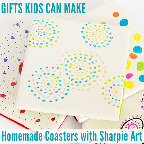 Gifts Ideas Kids Can Make: Coasters with Sharpie Art. Great for Christmas, Fathers and Mothers Day.