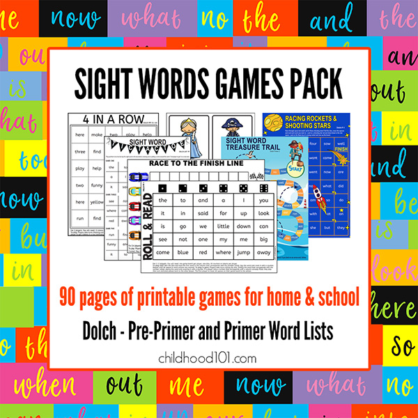 Sight word games pack printable