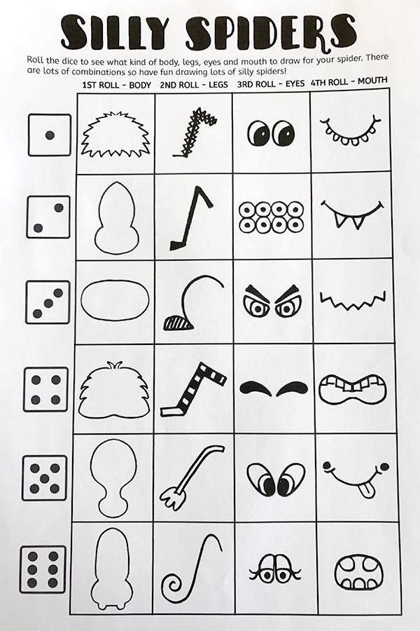 Silly spiders drawing game. Fun for art class, Halloween and more!