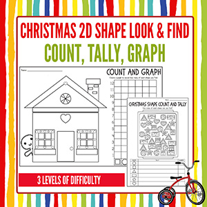 Christmas Shapes Math Count Tally Graphing