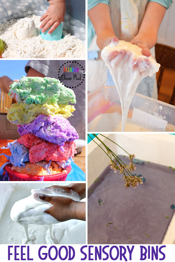 Giant list of sensory bins including feel good, tactile bin ideas