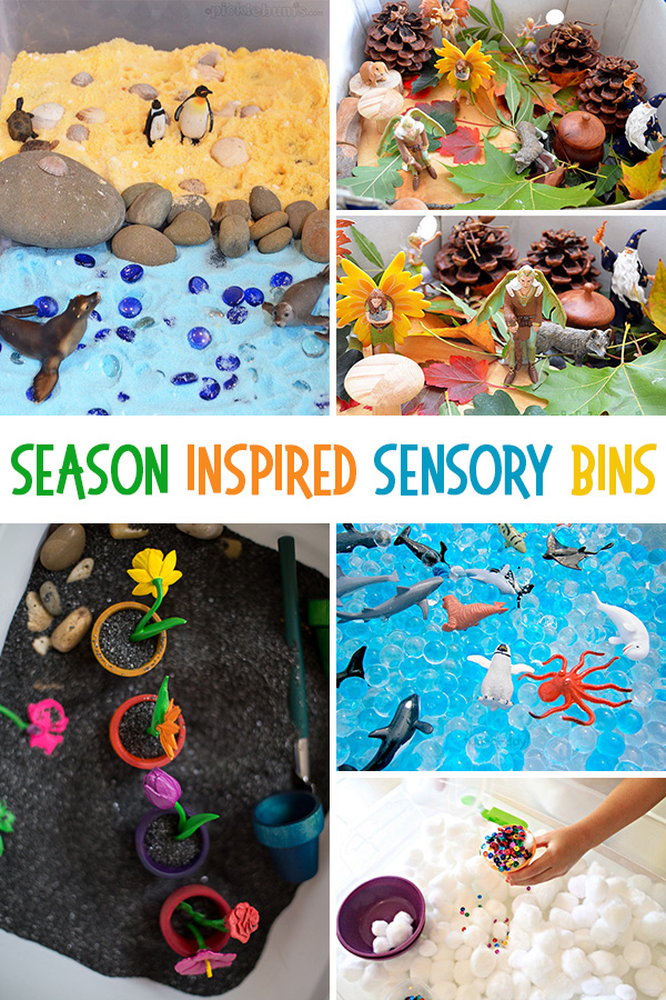 Season inspired sensory bins: Fun Sensory Bins for Kids