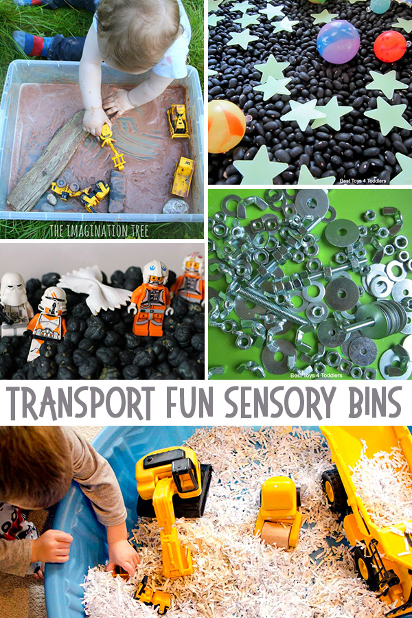 Transport Fun Sensory Bins: Over 55 Sensory Bin Ideas