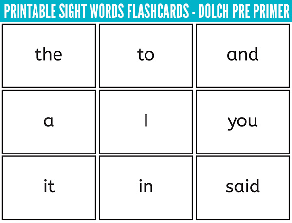 printable sight words flash cards