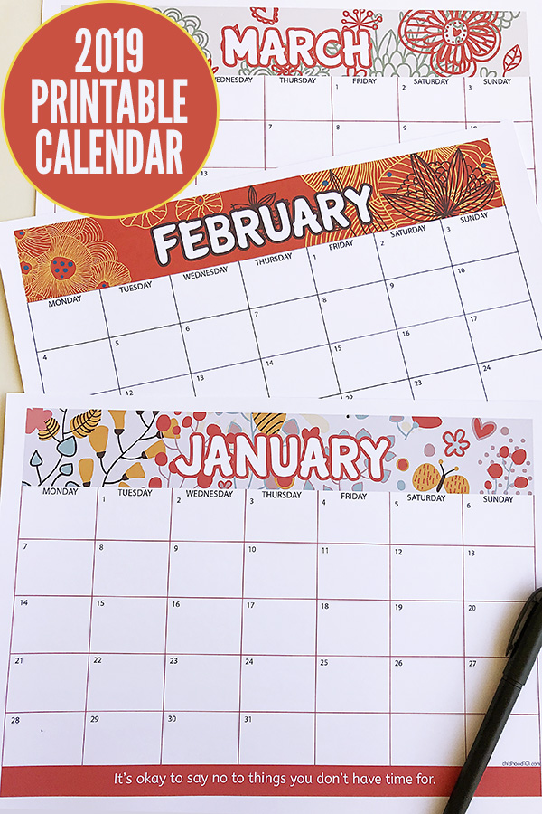 graphic relating to Free Preschool Calendar Printables known as No cost 2019 Calendar Printable: Receive Organized for a Extraordinary 2019!