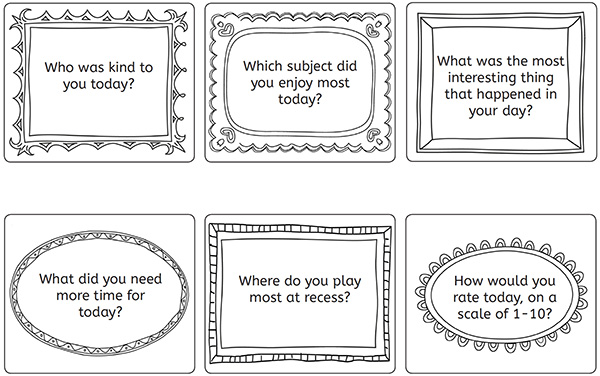 How to ask your child about their day conversation cards