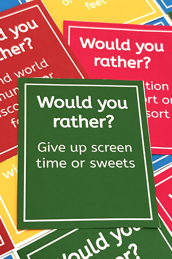 image relating to Would You Rather Cards Printable named Would By yourself As an alternative For Children: A Exciting, Family members Communication Video game