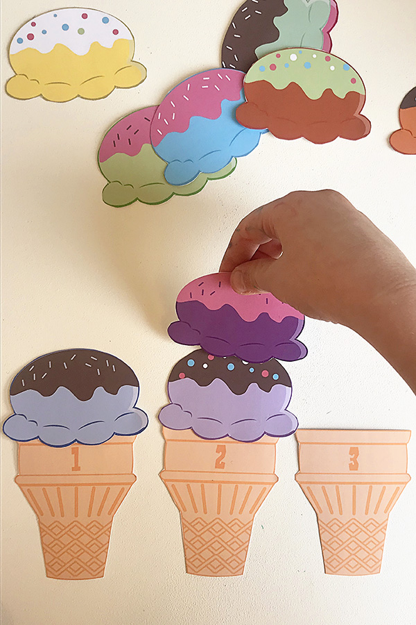 Ice cream preschool counting game