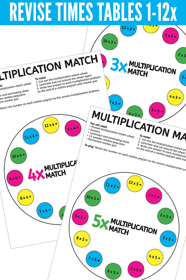 Multiplication peg match game for times tables 1x to 12x