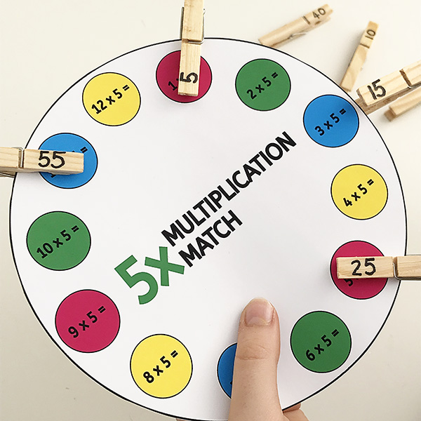 Multiplication peg match printable game