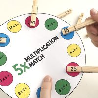 Printable multiplication peg match game