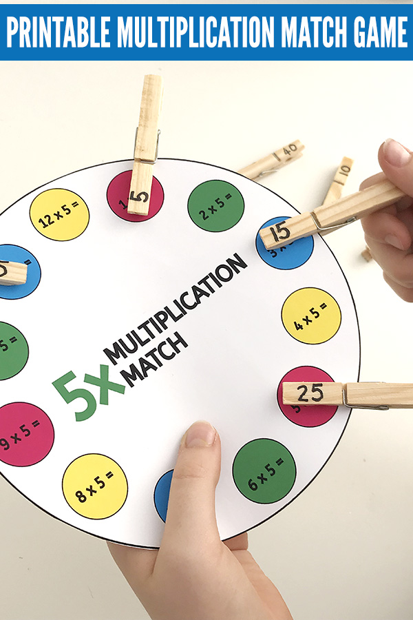 Printable times table game: Multiplication Peg Match