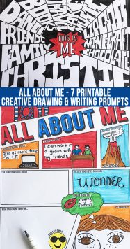 ALL ABOUT ME printable back to school creative drawing and writing prompts