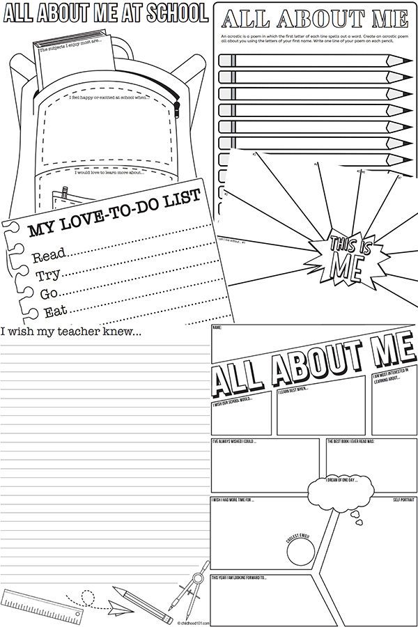 All about me activity sheets for back to school