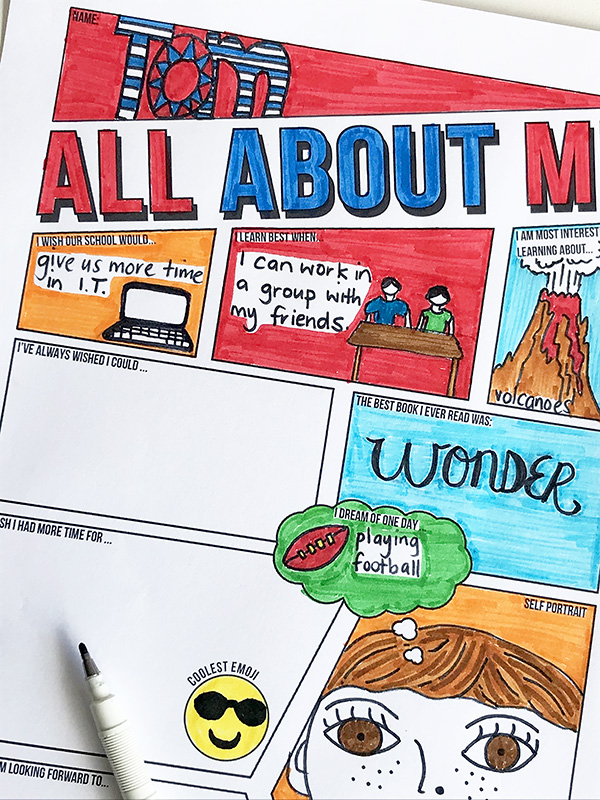 All about me printable activity sheets for back to school