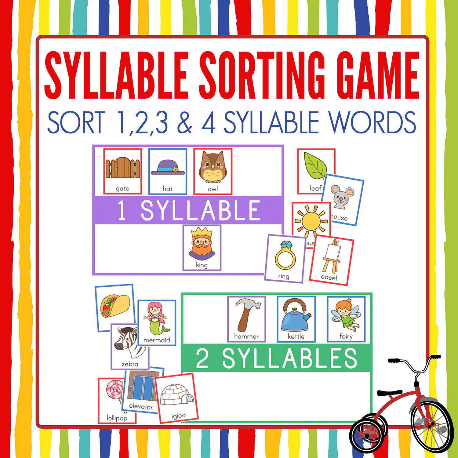 Syllables sorting game