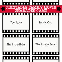 Charades Ideas: Family Movies Charades Game Cards Printable