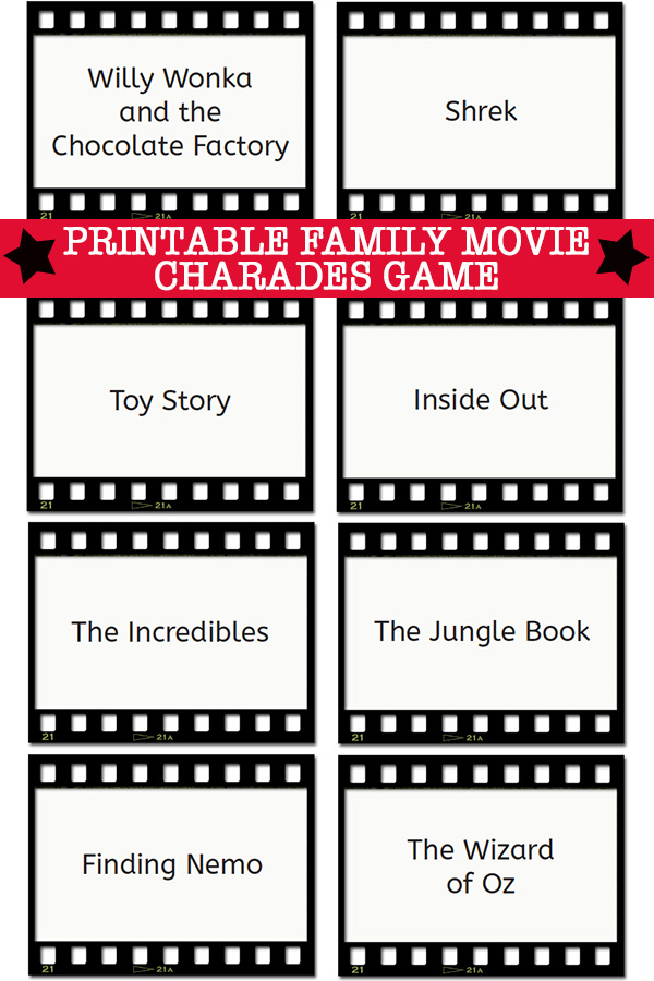 picture about Charades for Kids Printable titled Charades Tips: Spouse and children Video clip Charades Playing cards Printable