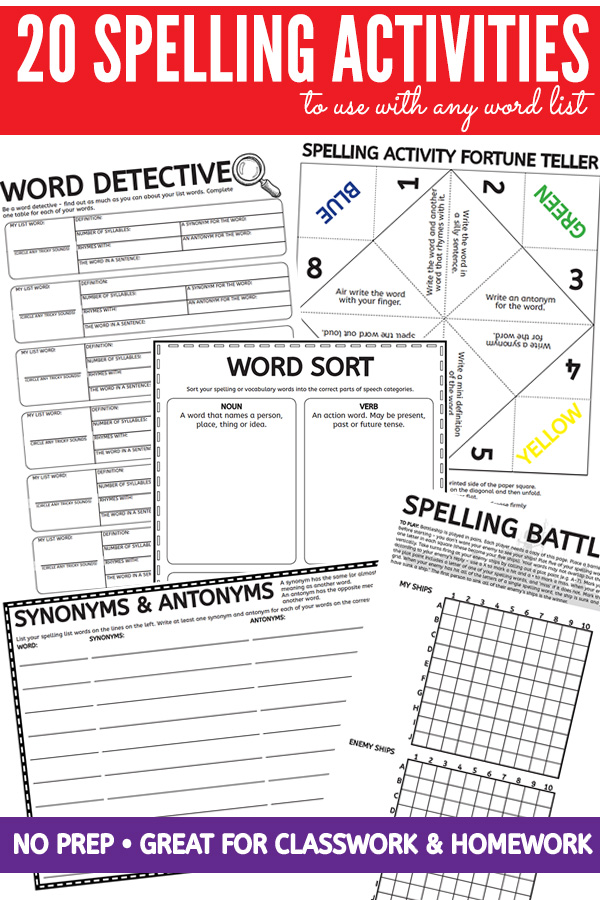 spelling activities worksheet pack