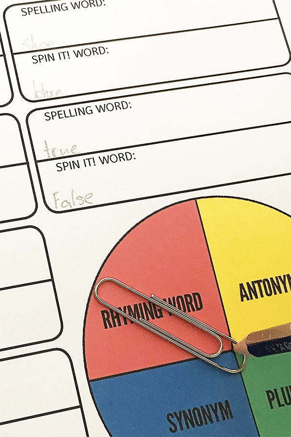 spelling words activity