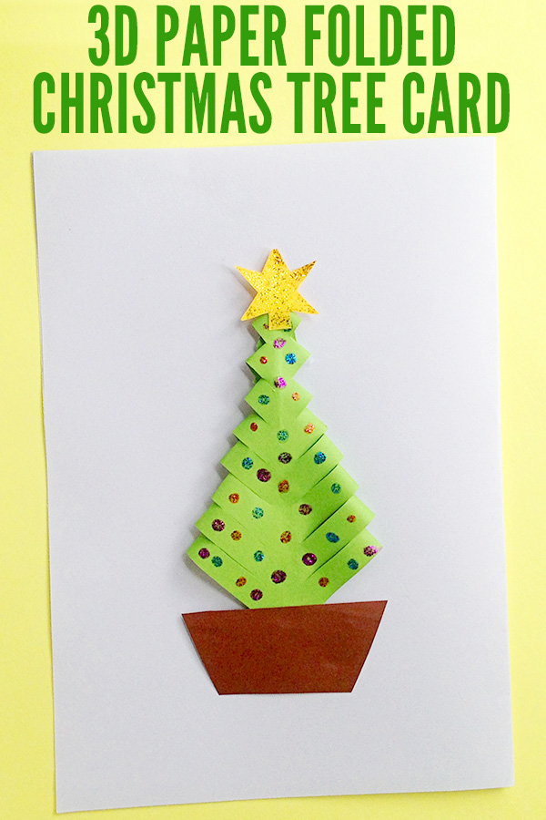 3D Paper Folded Christmas Tree Craft for School Aged Kids