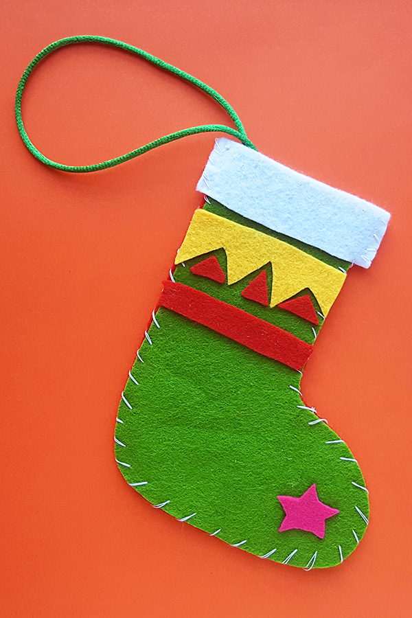 Christmas stocking sewing craft for kids