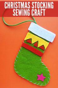 Felt Christmas Stocking to Sew With Kids