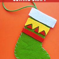 Christmas stocking sewing craft for school age kids