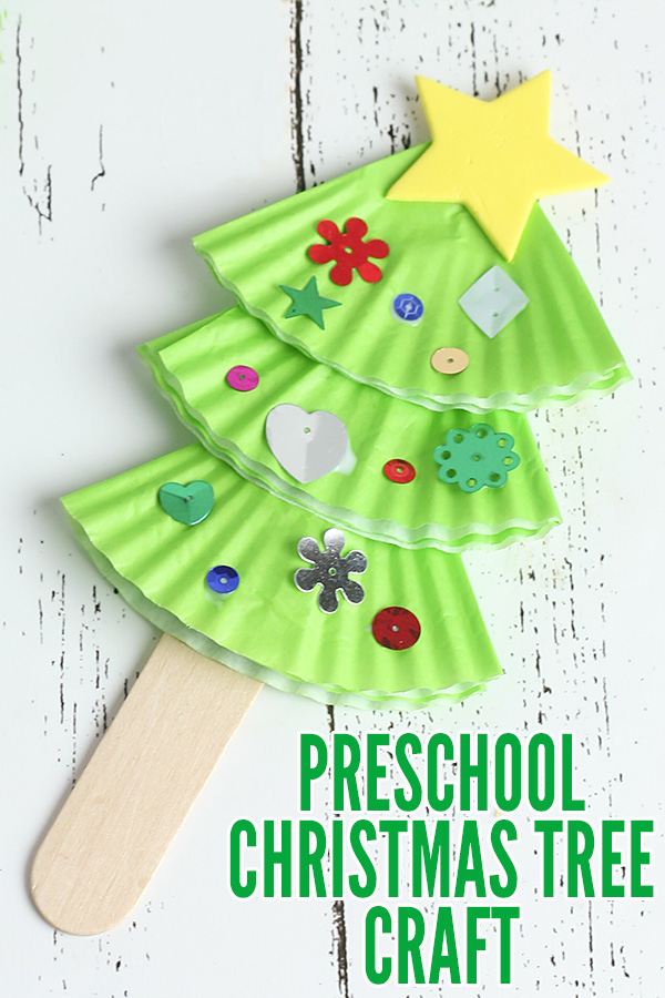 Christmas Tree Craft.Preschool Christmas Tree Craft With Cupcake Wrappers