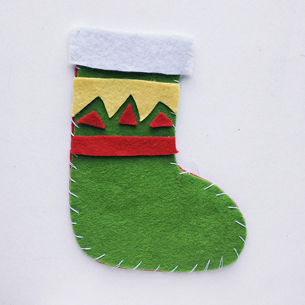 Felt Christmas stocking for school aged kids