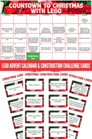 Lego advent calendar and Christmas building challenge cards