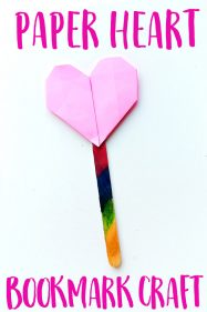 Origami heart bookmark craft