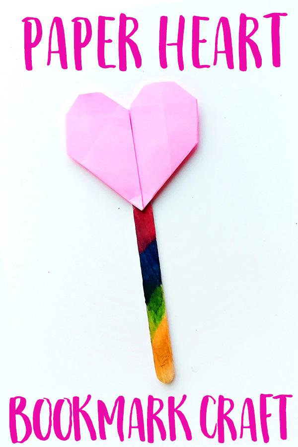 Origami heart bookmark craft