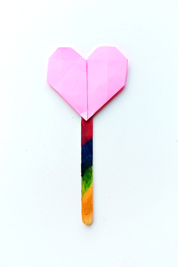 Origami heart bookmark Valentine craft for school aged kids