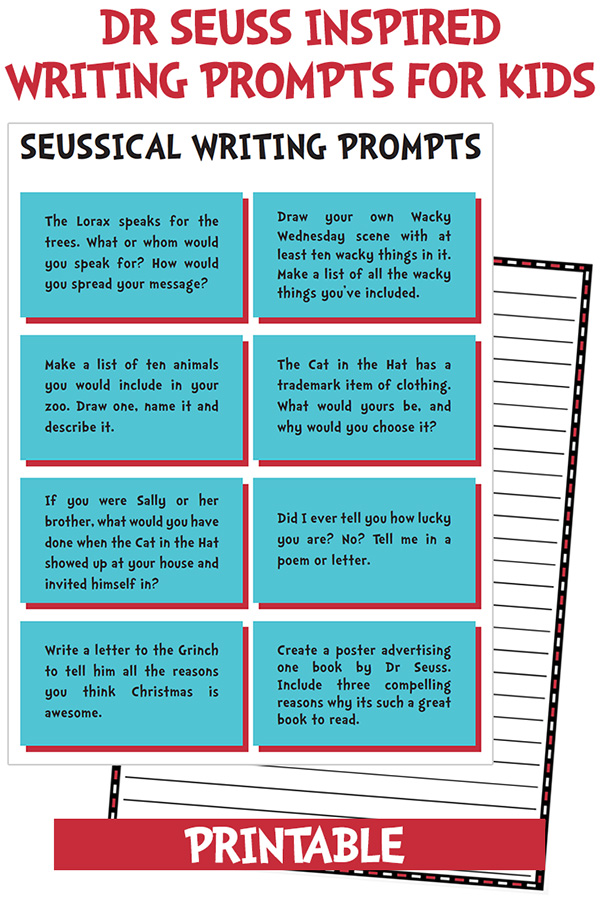Dr Seuss Writing Prompts for Kids