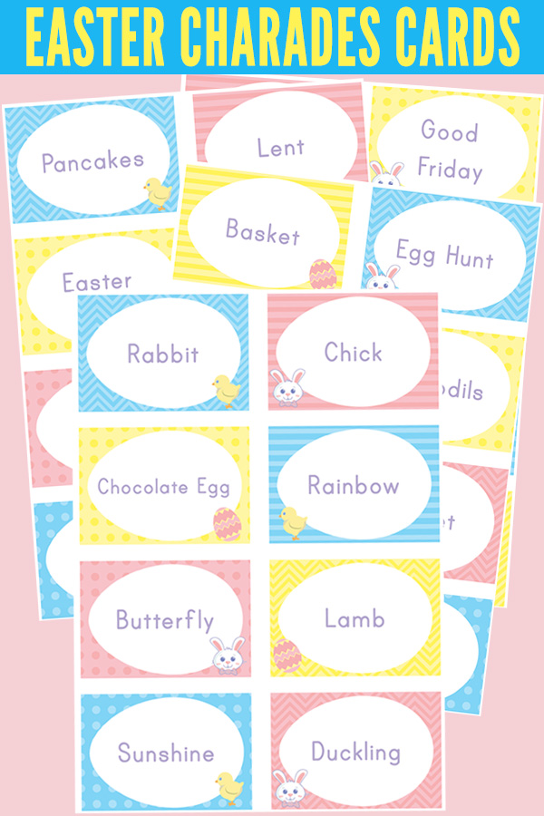 image about Charades for Kids Printable called Easter Charades: Printable Charades Playing cards for Little ones