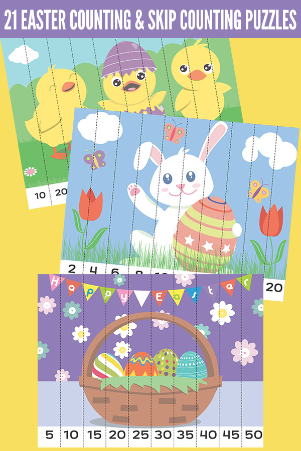 21 Easter counting and skip counting puzzles