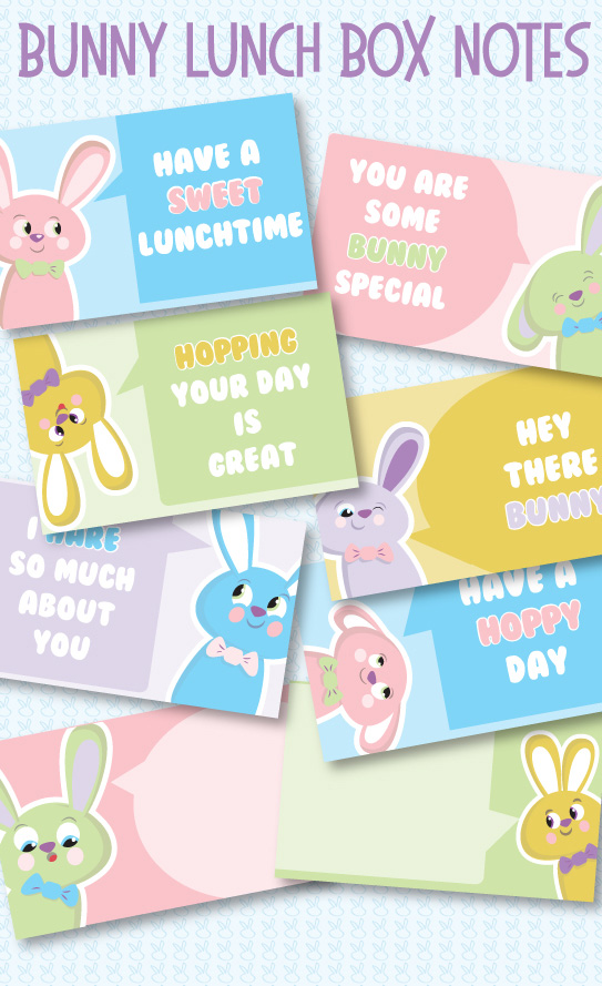 Super Cute Bunny Lunch Box Notes for Kids