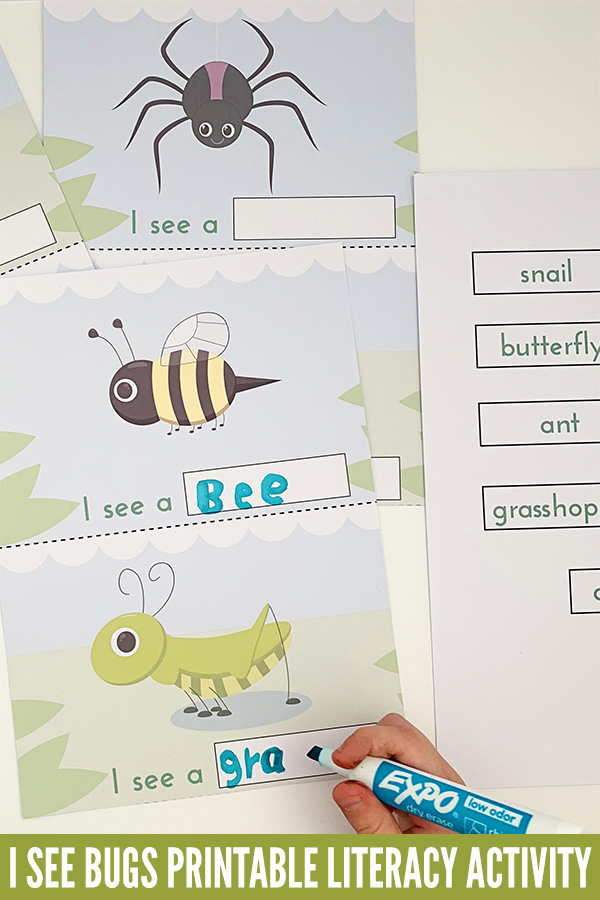 I See Bugs Printable Emergent Reader Literacy Activity