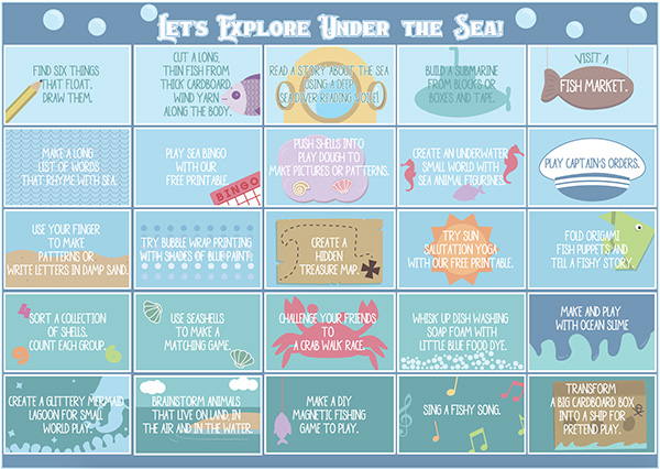 photo relating to Under the Sea Printable called A Thirty day period of Underneath the Sea Motivated Perform - Childhood101