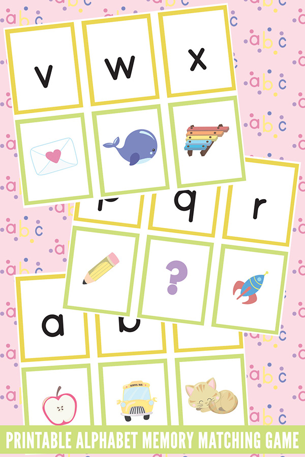 image regarding Printable Memory Game titled Printable Alphabet Memory Matching Video game with 5 Alphabet
