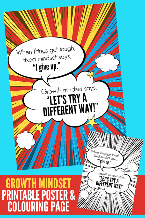 Printable Growth Mindset Poster for Kids
