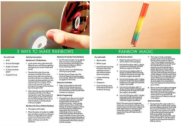 Rainbows and Kaleidoscopes sample STEM pages